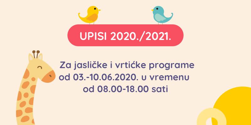 Upisi u vrtić - 2021